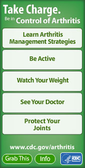 Take Charge. Be in Control of Arthritis widget. Flash Player 9 is required.