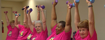 Photo: A group of senrior women exercising.