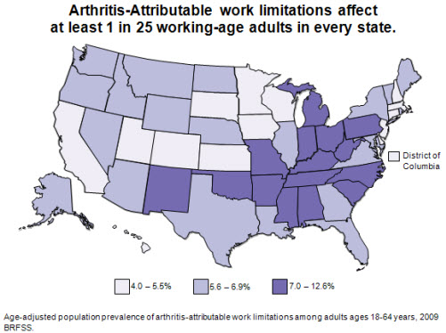 image on Arthritis-Attributable work limitations affect at least 1 in 25 working-age adults in every state
