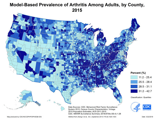 United States map showing model-based prevalence of arthritis among adults, by county in 2015.