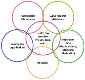 Sources of potential systemic lupus erythematosus: Commercial laboratories, Lupus research databases, Community organizations, Health care providers, Population data, and Hospitals