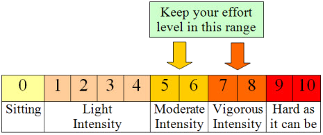 This image shows a continuum (from 0-10) to help figure out how to measure your level of effort for physical activity. On this continuum level 0 is sitting, levels 1 through 4 are labeled light intensity, level 5 and 6 are labeled moderate activity, level 7 and 8 are labeled vigorous activity, level 10 is labeled as hard as it can be.