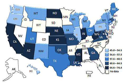 USA map showing Asthma Severity among Children with Current Asthma