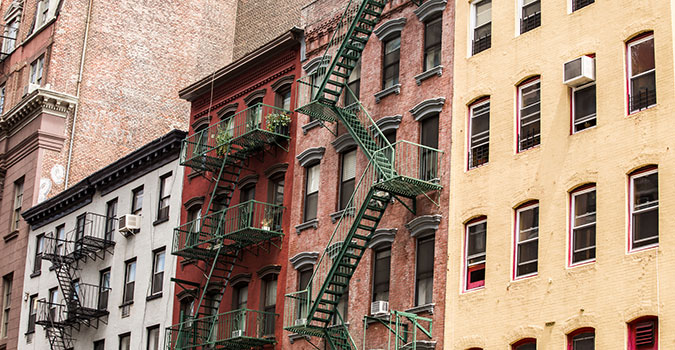 buidings with fire escapes