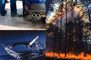 car exhaust fumes, a wild fire and cigarette smoke