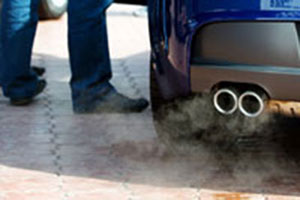 Pollution from a car can trigger asthma.