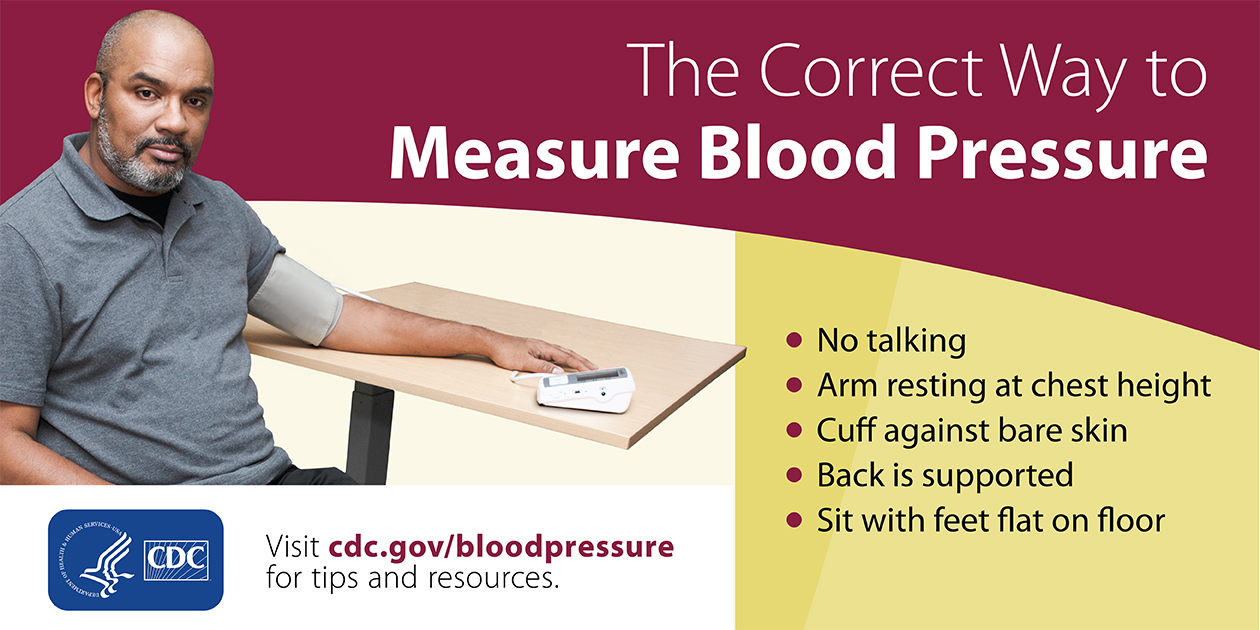 The correct way to measure blood pressure: no talking; arm resting at chest height; cuff against bare skin; back is supported; sit with feet flat on the floor.
