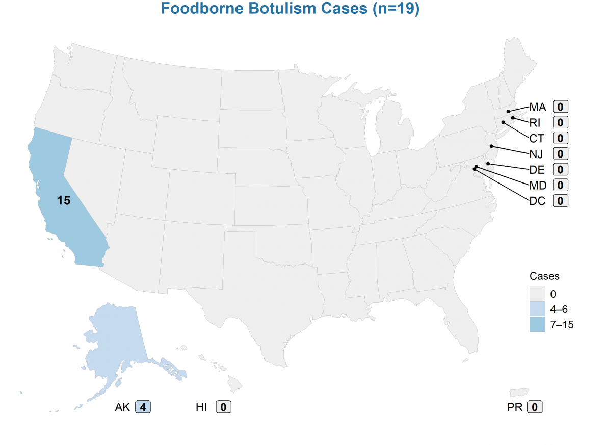 Foodborne botulism cases were reported from California (n=15) and Alaska (n=4). Among the 15 toxin type A foodborne botulism cases in California, 10 were from an outbreak linked to nacho cheese at a convenience store, 2 were from an outbreak linked to an herbal deer antler tea, 1 was from a suspected soup with bulging lid but was not available testing, and 2 were not linked to a known food source. (1) Among the 4 toxin type E foodborne botulism cases in Alaska, 3 were from an outbreak linked to seal blubber with seal oil, and 1 was linked to dried herring in seal oil