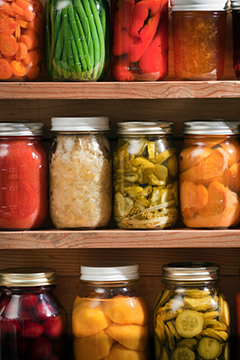 Jars of canned vegetables