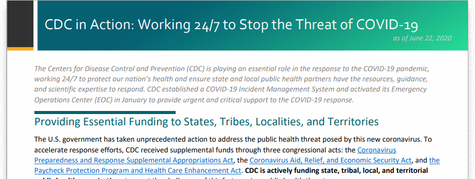 CDC Budget Fact Sheet: Working 24/7 to stop the threat of COVID-19