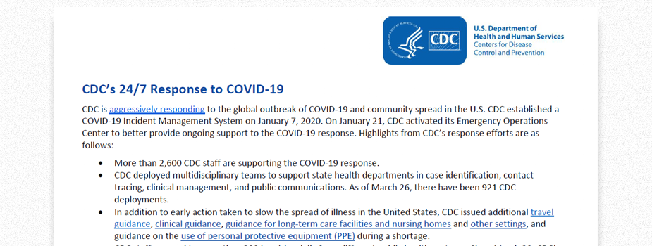 Screenshot of the CDC's 24/7 Response to COVID-19 fact sheet