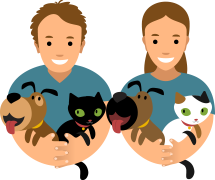 An illustration of a smiling man and woman each holding a cat and a dog in their arms.