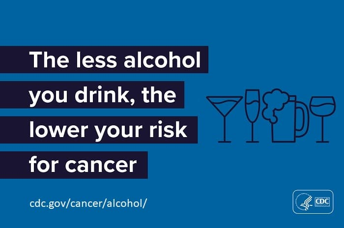 The less alcohol you drink, the lower your risk for cancer. cdc.gov/cancer/alcohol/