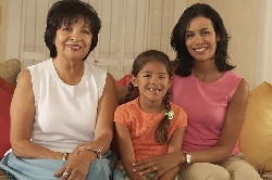 Photo of a grandmother, her daughter, and her granddaughter