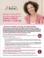 Caring for Young Women Who Are at High Risk for Early-Onset Breast Cancer: A Summary of Screening, Counseling, and Testing Guidelines