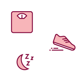 Image of a weight, a crescent moon with z's, and a running shoe.