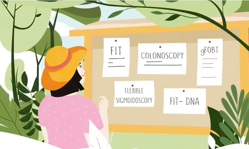 Photo of a woman looking at a board with pieces of paper. Each piece have the following text written: FIT, Colonoscopy, gFOBT, Flexible Sigmoidoscopy, and FIT DNA