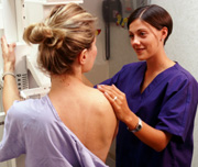 Photo of a woman getting a mammogram