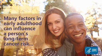Many factors in early adulthood can influence a person's long-term cancer risk. Learn more at www.cdc.gov/cancer/dcpc/prevention/early-adulthood.