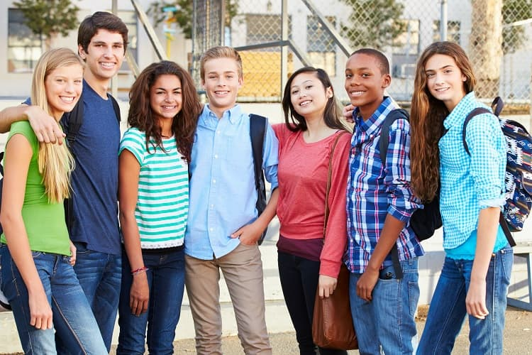 Photo of seven high school students