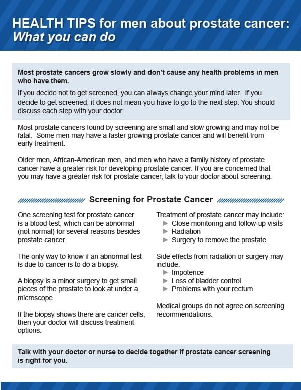 Health Tips for Men about Prostate Cancer