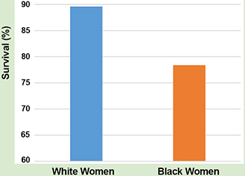 From 2004 to 2009, about 89% of white women and about 78% of black women survived at least five years after a breast cancer diagnosis.