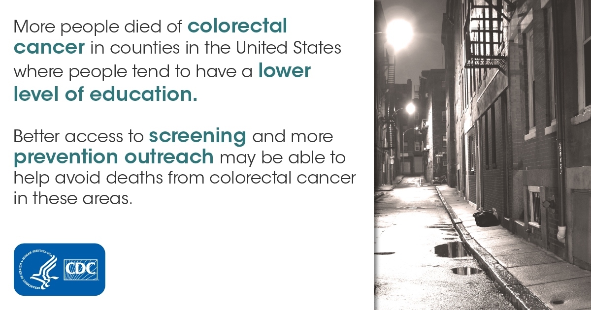 More people died of colorectal cancer in counties in the United States where people tend to have a lower level of education. Better access to screening and more prevention outreach may be able to help avoid deaths from colorectal cancer in these areas.