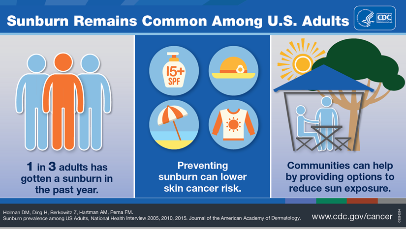 Sunburn remains common among U.S. adults. 1 in 3 adults got a sunburn in the past year. Preventing sunburn can lower skin cancer risk. Communities can help by providing options to reduce sun exposure.