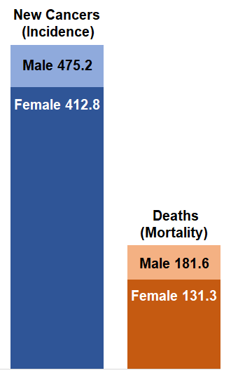 Chart showing cancer rates in the United States in 2017. Incidence (rate of new cancers) was 475.2 for males and 412.8 for females. Mortality (death rate) was 181.6 for males and 131.3 for females.