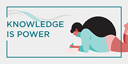 Knowledge Is Power. Picture of a woman lying on the floor eating from a bowl.