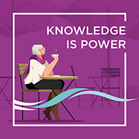 Knowledge Is Power. Picture of a woman in a café zipping a cup of coffee.