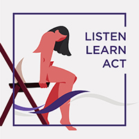 Listen, Learn, Act. Picture of a woman sitting in a chair.