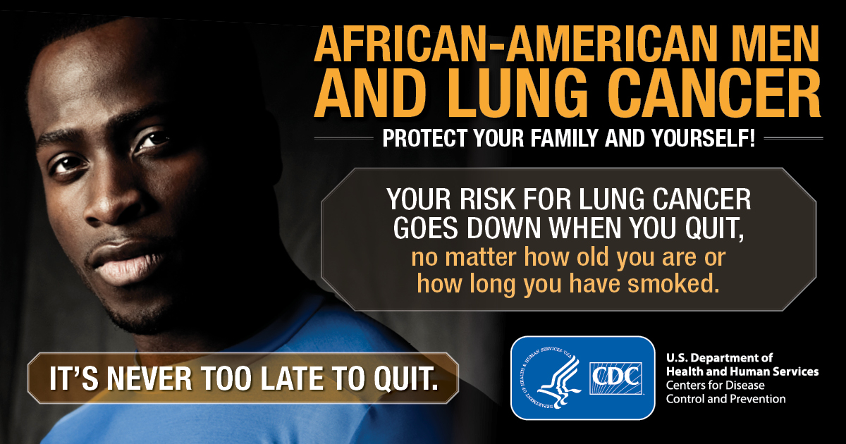 African-American Men and Lung Cancer: Protect Your Family and Yourself! Your risk for lung cancer goes down when you quit, no matter how old you are or how long you have smoked. It's never too late to quit.