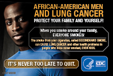 African-American Men and Lung Cancer: Protect Your Family and Yourself! When you smoke around your family, everyone smokes! The smoke from your cigarettes, called secondhand smoke, can cause lung cancer and other health problems in people who have never smoked, even kids. It's never too late to quit.