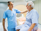 Photo of radiologist with patient