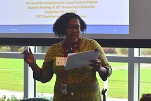 Deborah Houston McCall leads a working session on the dual approach to health equity.