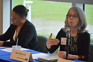 Dr. Lisa Richardson and Dr. Mary White speak during the NCCCP business meeting.