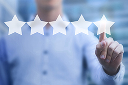 Rating online concept, 5 stars review, positive feedback.