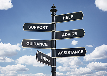 Help, support, advice, guidance, assistance and info crossroad signpost.