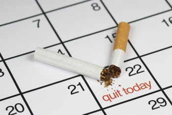 Photo of a calendar with a date to quit smoking noted