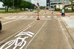 Bicycle lanes on a road in Lake Charles, Louisiana.