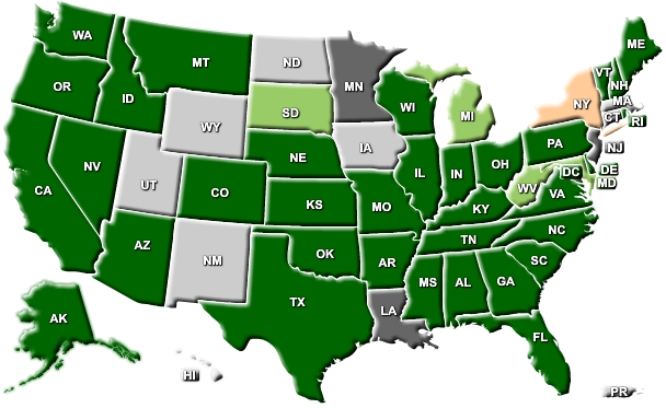 United States map showing eMaRC Plus in state cancer registries