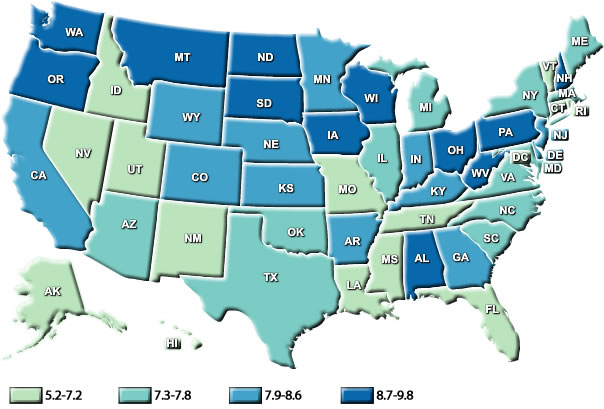 Map of the United States showing female ovarian cancer death rates by state.