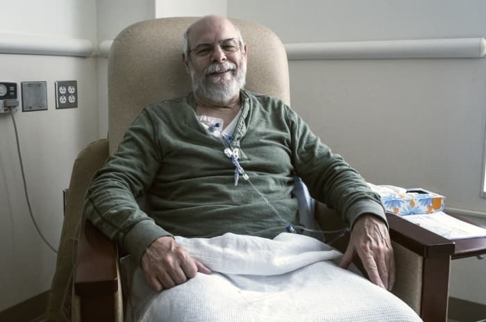 Photo of a man receiving chemotherapy