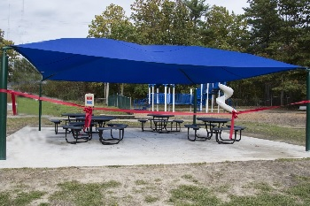 Photo of a free-standing shade structure at the Albert Bean Elementary School in Pine Hill, New Jersey