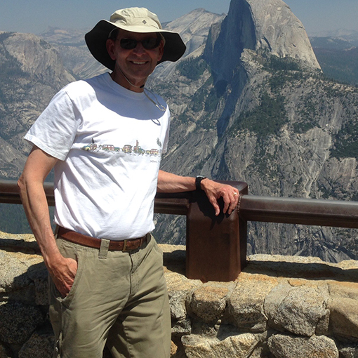 Bob wearing his wide-brimmed hat while checking out Half Dome in Yosemite National Park.