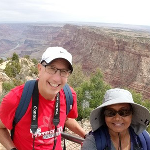 Photo of Rob and Qaiser stopping for a quick #SunSafeSelfie while exploring the Grand Canyon.