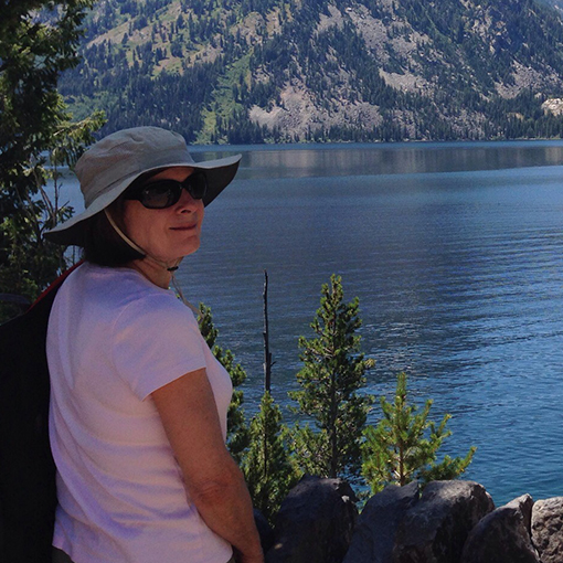 Bobbie staying in the shade while enjoying beautiful views in Grand Teton National Park.