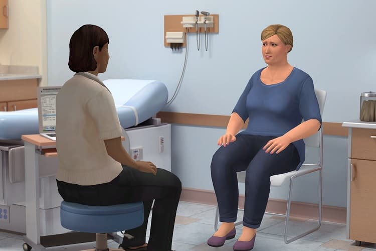 Screenshot of Let's Talk: Nutrition, Physical Activity and Cancer Survivors simulation