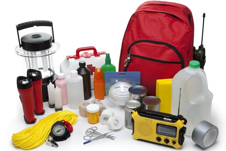 Photo of a backpack with emergency supplies